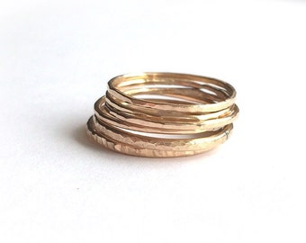 Stacking Rings, Gold, Silver, Copper Stacking Rings, Knuckle Rings, Thin Rings Bands, Midi Ring, Multiple Rings, Texturized Rings