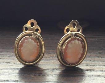 Gold filled cameo clip on earrings