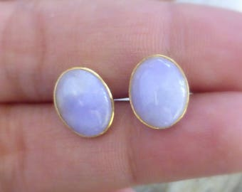 Beautiful Large 14k Natural grade A lavender jade cabochon stud earrings Beautiful color, semi-translucent