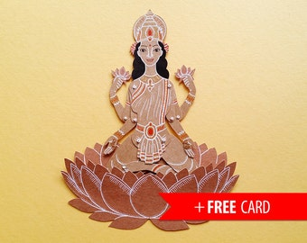Lakshmi the Indian Goddess articulated paper doll handmade greeting card laxmi hindu puppet birthday present lucky charm coworker gift