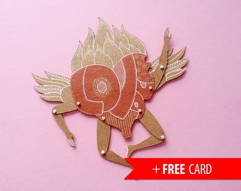 Love You Heart articulated paper doll free handmade greeting card winged puppet valentines gift girlfriend boyfriend present confession