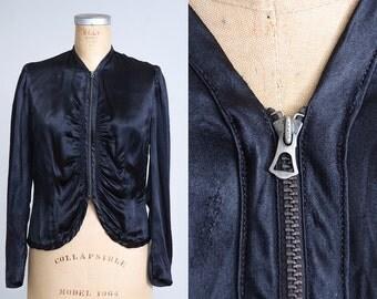 1930s Black Satin Peplum Jacket Talon Fan Zip Crop Deco Jacket