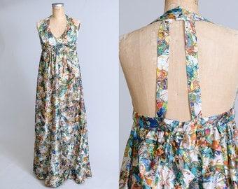 70s Butterfly Kaleidoscope Abstract Open Back Disco Full Length Maxi Dress
