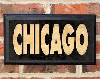 Chicago Illinois IL Wall Art Sign Plaque Gift Present Personalized Color Custom Home Decor Chicago Aurora Peoria Springfield Joliet Classic