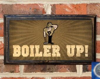 "Purdue Boilermakers ""Boiler Up"" Pete Logo Vintage Style Home Decor Gift Present Wall Plaque Sign Art Boiler Up University Black Antique"