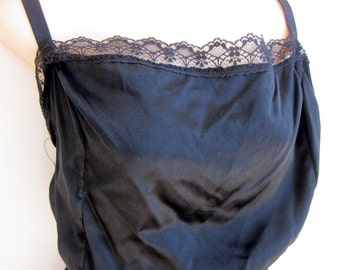 VTG Teddie cami black SILK & lace plus size sexy lingerie nightgown  2X 22/24