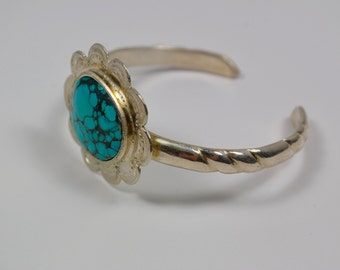 Turquoise Cuff Bracelet - Sterling Silver and Turquoise Bracelet - Genuine Turquoise Cuff Bracelet - Boho Cuff