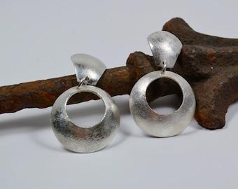 Sterling Silver Earrings - Hoop Earrings - Retro - Mid Century