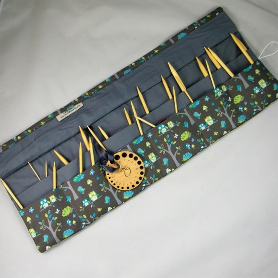 Circular Knitting Needle Case : Circular knitting needle case owl fabric by quincepie on