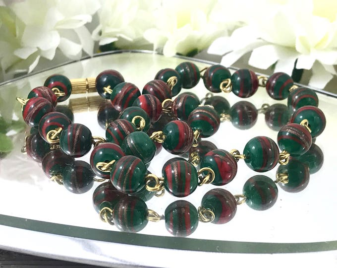 Antique Vintage Forest Green, Red, Gold Art Deco Murano Venetian Glass Sommerso Necklace, Red Green Copper Aventurine, Italian 1920's.