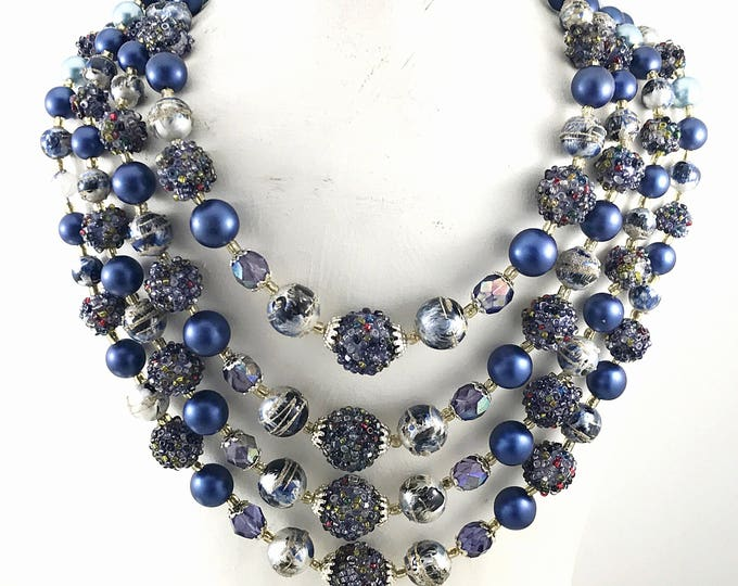 1940s Vintage Blue Beaded Necklace, 4 strand lustery blue pearl, blue sugar bead necklace. West Germany Style. Purple aurora borealis beads.