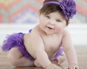 Baby Girl Ruffle Bottom Tutu Bloomer & Headband Set in Purple - Newborn Photo Set - Cake Smash - Diaper Cover - Baby Gift - First Birthday