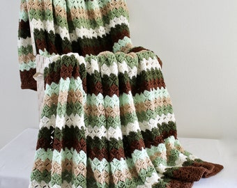Afghan - Queen Size Crochet Blanket - Double Stitch Throw in Brown and Green Tones - Striped Afghan