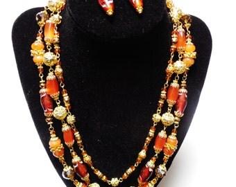 CARNELIAN Necklace Earrings Set Gold Orange Gemstones, 3 stranded Crystal & Lampwork glass Jewelry OOAK One Of A Kind Handmade Jewelry Sets