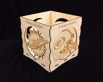 Green Bay Packers/Miami Dolphins-A House Divided- engraved candle holder-Unfinished wooden candle box-gift box-centerpiece-NFL candle holder