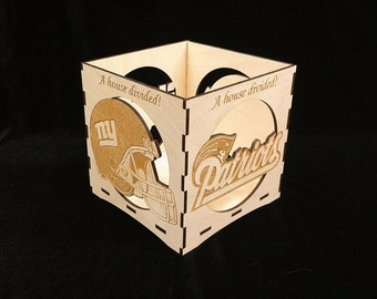 New England Patriots/New York Giants-A House Divided- engraved candle holder-Unfinished wooden candle box-centerpiece-NFL candle holder