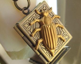 Steampunk book locket necklace with brass beetle Birthday gift ideas photo locket picture locket