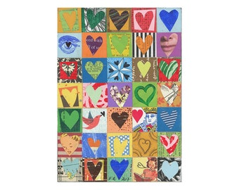 small heart art, mixed media HEARTS, 5x7 collage, original hearts on wood, love art by Elizabeth Rosen