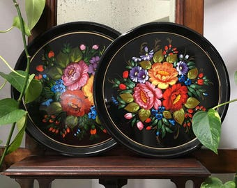 Colorful Vintage 60's Hand Painted Floral Round Trays / 2 Tole Trays