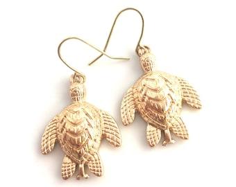SALE Gold Sea Turtle Earrings