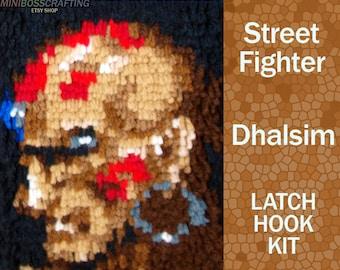 Dhalsim - Street Fighter - Latch Hook Kit - DIY Latch Hook Rug 6*8.5 Inches