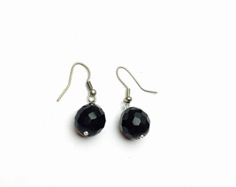 Black Crystal Earrings, Vintage Silver Tone Dangling Round, Clearance Sale, Item No. B526