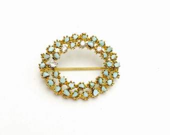 Vintage Turquoise Brooch, Gold Tone, Oval Shape, Clear Rhinestones,  Item No. B579