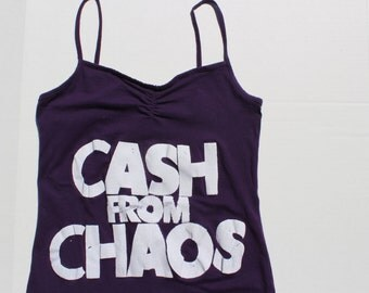 Punk Vest Top Purple Tank with screenprint CASH from CHAOS-Rock Roll Swindle- thin strap strappy womens fitted vest top -Seditionaries-XS 32