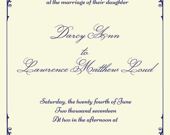 wedding invitation, plum wedding invitation, purple wedding ideas, traditional invites, victorian scroll invite, violet wedding invitation