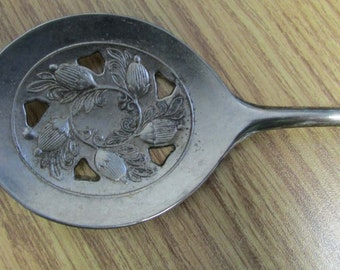 Vintage Leonard Silver Plated Slotted Flat Serving Spoon Made In Italy