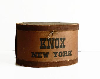 antique Knox hat box New York early 1900s store display prop