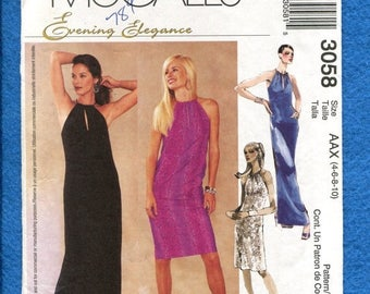 15% OFF SPRING SALE McCalls 3058 Slim Evening Dress with Keyhole Neckline Sizes 4 to 10 Uncut