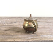 Miniature copper and brass Cauldron with lid, brass handle, small pot, toothpick holder, 3 feet