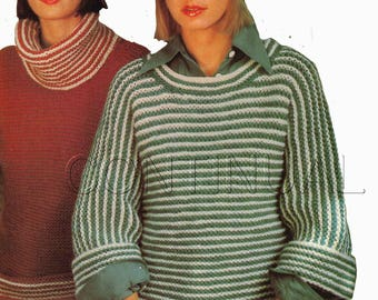 Vintage 1970s Knitted Sweater Pullover, Turtleneck, Crewneck, Beginners Knitting PDF Pattern, Knitting Instant Download