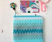 Small Coin Pouch Girly Teal Felt Wallet Gift Card Pouch Coin Purse Wool Felt Zipper Pouch Handbag Organizer Cosmetic Case