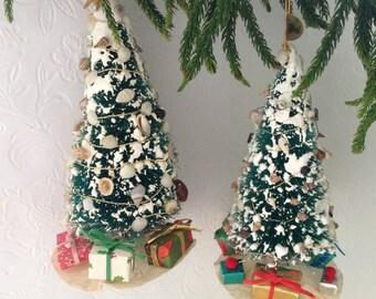 Doll house Christmas Tree - Sisal Trees - Bottle brush Trees - flocked - decorated Bottlebrush Tree - shell collector-  Christmas Decor