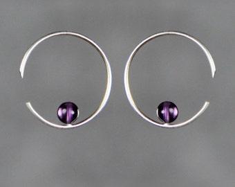 Sterling silver amethyst simplel hoop earring handmade US freeshipping Anni Designs