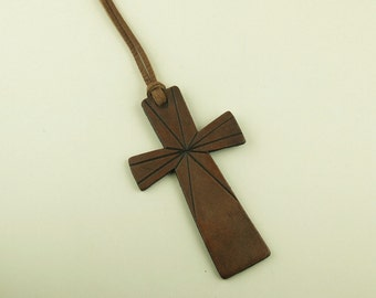 Leather neckace with carved leather cross pendant
