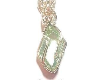 Gold pendant, Handmade 14kt Gold Green Flourite Pendant