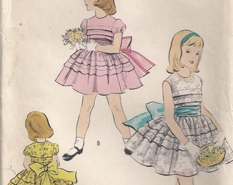 Dress Short Puffed Sleeves Sleeveless Round Neckline Petticoat Double Ruffle Girl's Size 2 Used Vintage Sewing Pattern Vogue 2742