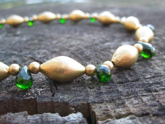INDIRA  18K Gold Necklace with Diopside Gemstones