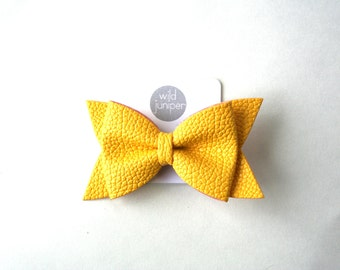 Girl Hair Clips - Yellow Faux Leather Hair Bow Clip