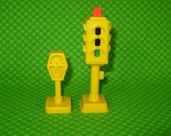 Vintage Fisher Price Little People Main Street Traffic Light & Meter-Fisher Price Main Street-Fisher Price Traffic Light-Little People Light