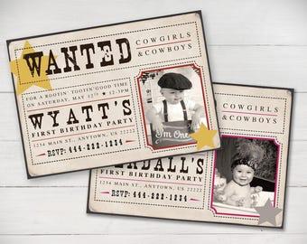 Wanted Cowboy/Cowgirls Birthday Invitation (Cowboy or Cowgirl) - Digital File