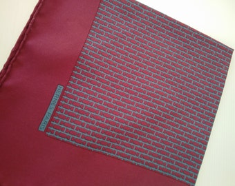 vintage silk HERMES pocket square, genuine hermes accessories, burgundy red blue hermes haute couture, high fashion