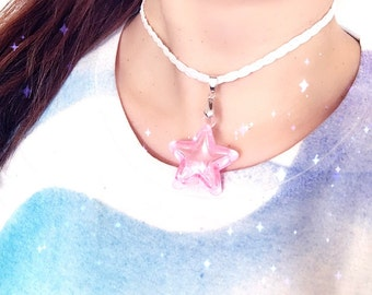 Bead filled Star Choker on Iridescent Braid- choose from 5 colors Custom Sizing!