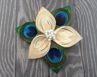 Ivory and Natural Peacock Feather Flower clip with pearls