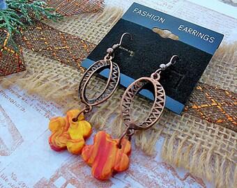 Yellow and Orange, Flower Earrings, Flower Jewelry, Dangle Earrings, Earthy Earrings, Polymer Clay Jewelry, Bohemian Jewelry, Clay Earrings