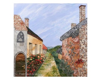 Path to the Lake - matted - mixed media landscape scene of Balatonfured Hungary