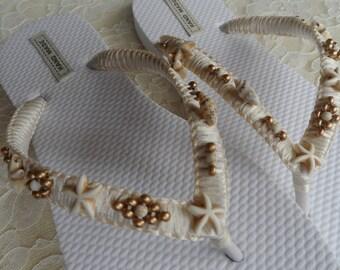 Ivory and Gold Shell Bridal Flip Flops  / Shell and Starfish Flip Flops / Summer Beach Flip Flops / Bohemian Style Sandals / Bridesmaids.